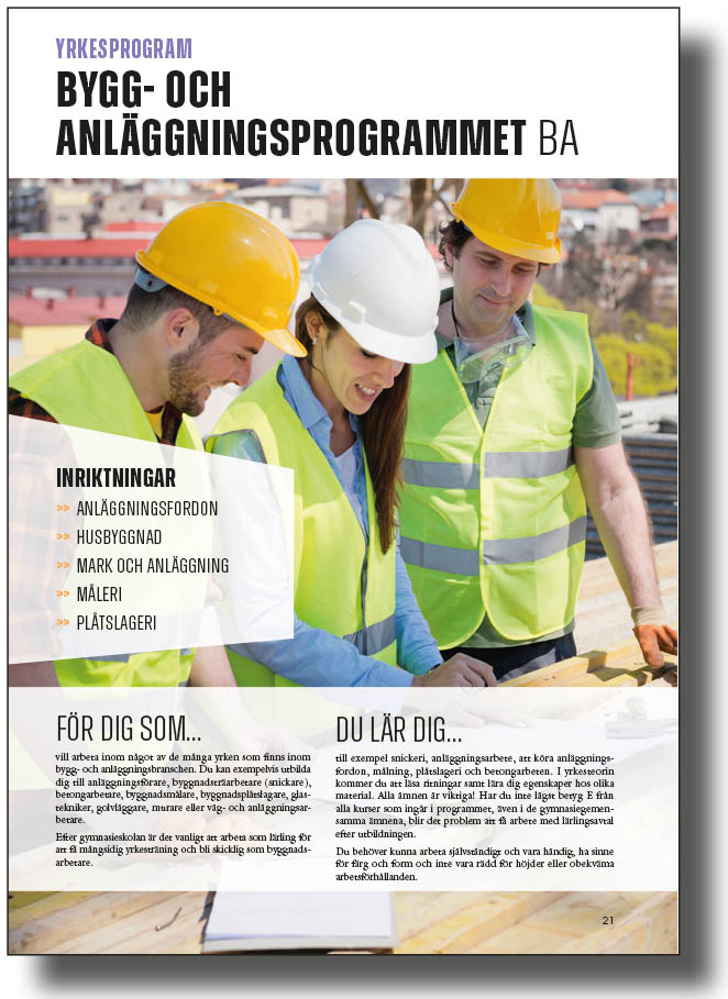 Sidvisning av Bygg- och anläggningsprogrammet