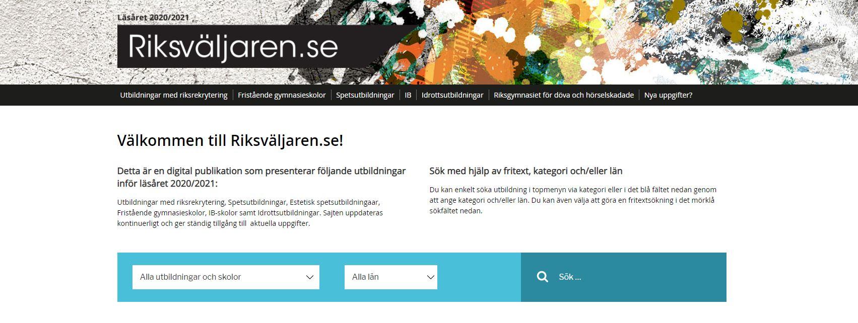 Skärmdump från riksvaljaren.se (steg 1)
