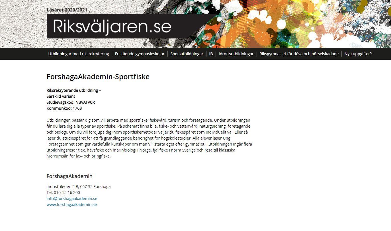 Skärmdump från riksvaljaren.se: Program