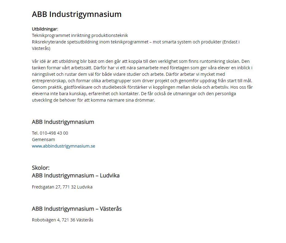 Skärmdump från riksvaljaren.se: Gymnasieskola