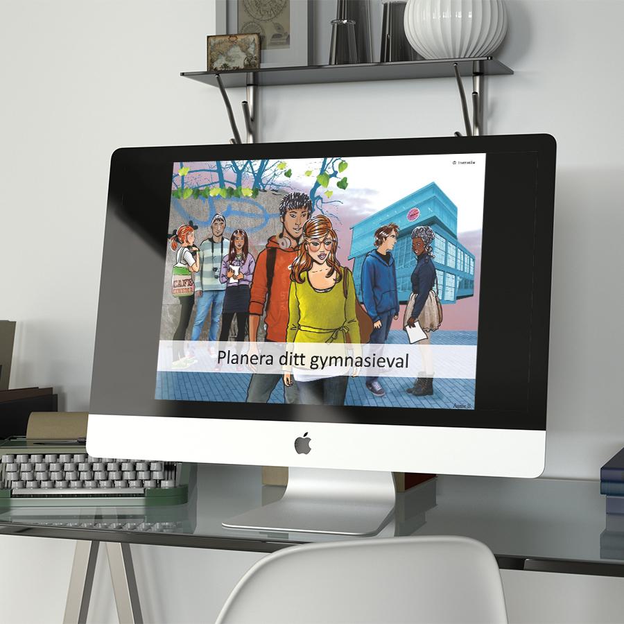 """""""Planera ditt gymnasieval"""" på en datorskärm"""