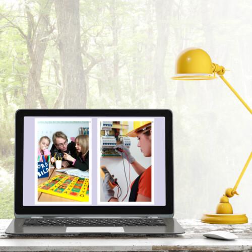 Skärm som visar digitala jobbkort